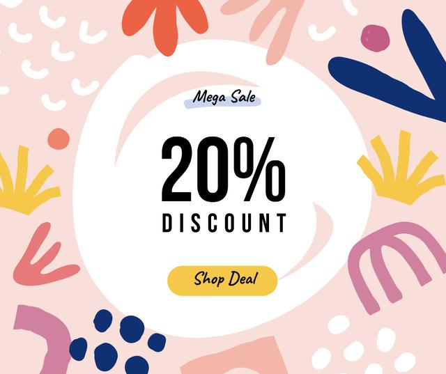 Shop Deal in Pink Frame Facebook Design Template