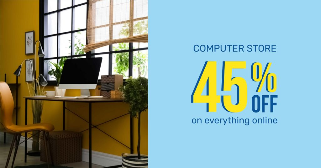 Online Computer Store Offer with Cozy Workplace — Створити дизайн