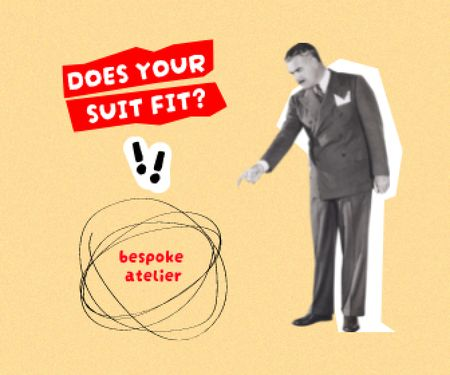 Atelier Services Offer with Man in Formal Suit Large Rectangle Design Template