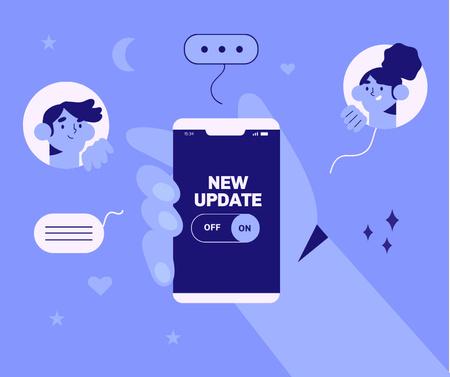 Modèle de visuel App Updates Ad with Profiles Avatars - Facebook