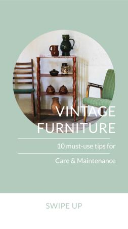 Designvorlage Vintage Furniture Sale Offer für Instagram Story
