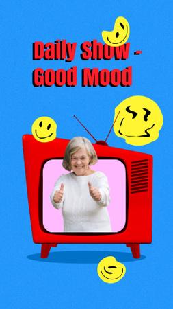 Funny Illustration of Granny in TV set Instagram Story – шаблон для дизайна