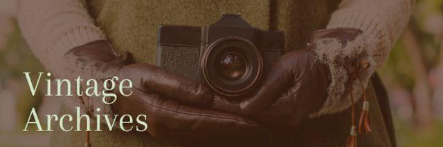 Plantilla de diseño de Vintage archives with Old Fashioned Camera Email header