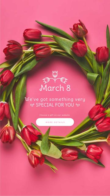 8 March Greeting Rotating Wreath of Tulips Instagram Video Story Design Template