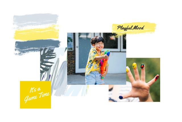 Ontwerpsjabloon van Mood Board van Child Playing and painting
