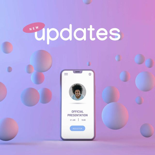 Ontwerpsjabloon van Instagram van App Updates Ad with Profile on Phone Screen