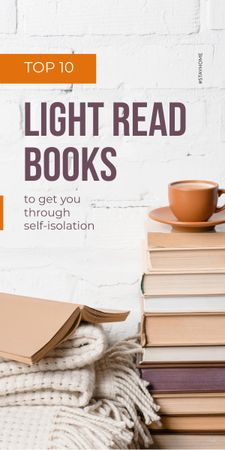 Stack of Books with cup of Coffee and Plaid Graphic – шаблон для дизайну