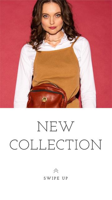 Plantilla de diseño de New Fashion Collection Ad with Stylish Girl Instagram Story