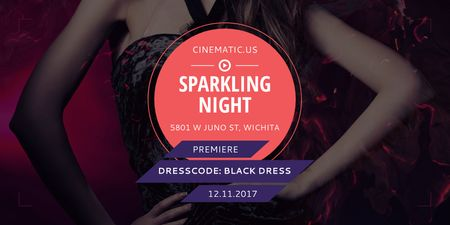 Night Party Invitation with Woman in Glamorous Outfit Twitter Tasarım Şablonu