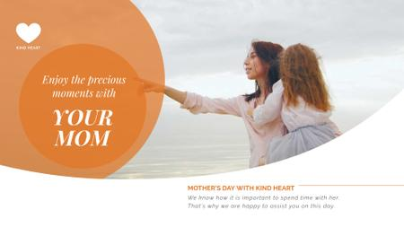 Mother and daughter by the sea on Mother's Day Full HD video Modelo de Design
