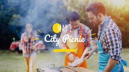 Ontwerpsjabloon van FB event cover van City Picnic on International Worker's Day Announcement