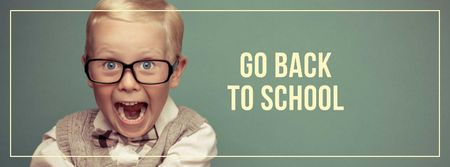 Modèle de visuel Back to School Announcement with Funny Pupil - Facebook cover