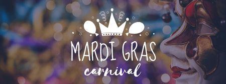 Mardi Gras Carnival Announcement Facebook coverデザインテンプレート