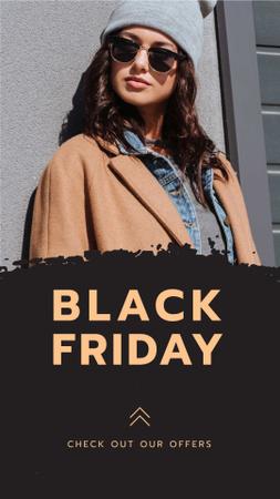 Szablon projektu Black Friday Announcement with Stylish Woman Instagram Story