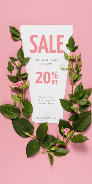 Natural Cosmetics Sale on Roses frame Graphicデザインテンプレート
