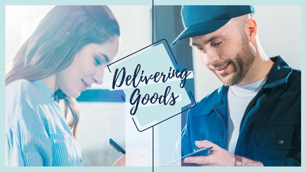 Delivery service ad with Client receiving parcel – Stwórz projekt