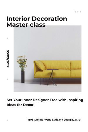 Interior Decoration Event Announcement with Sofa in Yellow Pinterest Design Template
