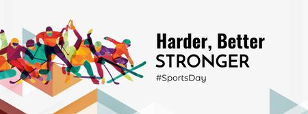 Sports Day Announcement with Athletes Facebook cover Design Template
