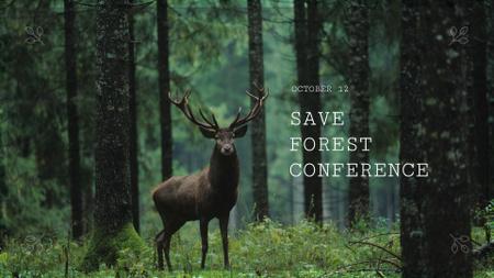 Plantilla de diseño de Deer in Green Forest FB event cover