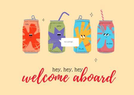 Modèle de visuel Cute Fruits Beverages in Cans - Card