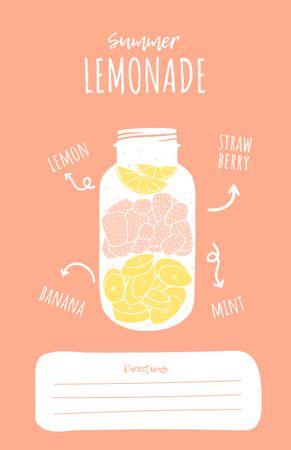Ontwerpsjabloon van Recipe Card van Summer Lemonade Cooking Steps