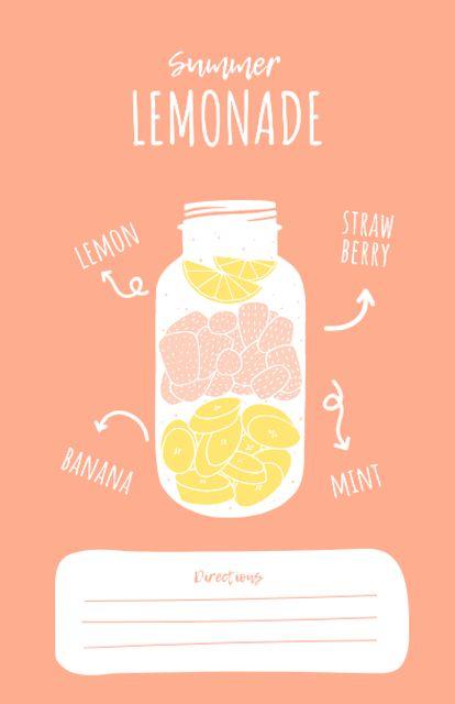 Summer Lemonade Cooking Steps Recipe Card Modelo de Design