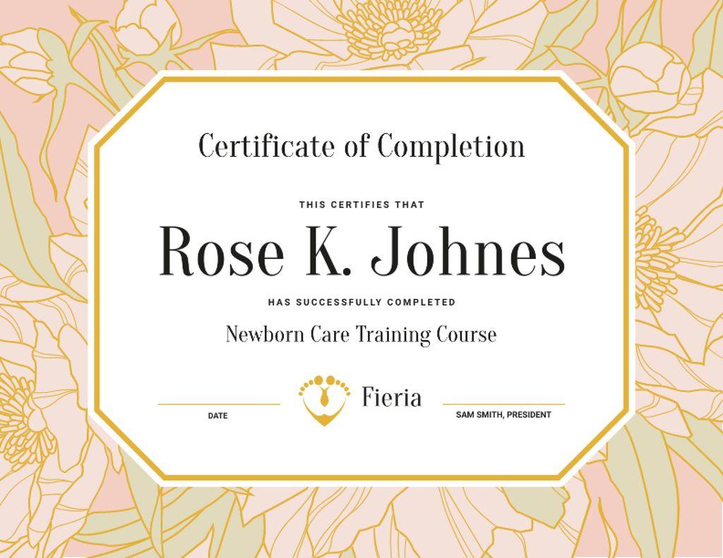 Newborn Care Training Course completion in flowers frame — Créer un visuel