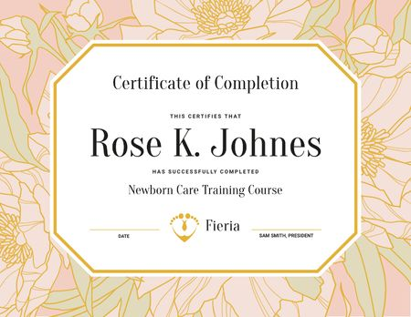 Plantilla de diseño de Newborn Care Training Course completion in flowers frame Certificate