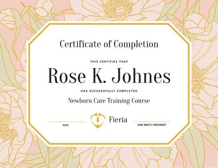 Newborn Care Training Course completion in flowers frame Certificateデザインテンプレート