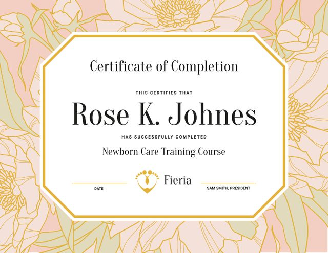 Newborn Care Training Course completion in flowers frame Certificate Design Template