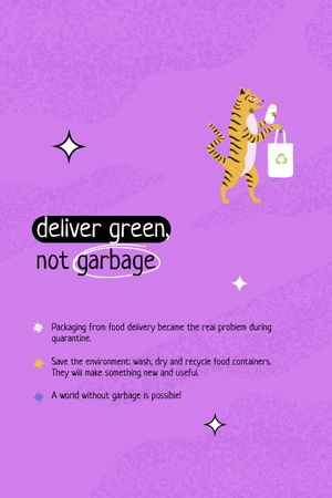 Plantilla de diseño de Waste Sorting Motivation with Cute Tiger holding Eco Bag Tumblr