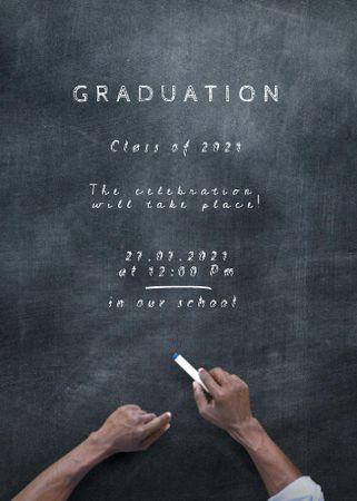 Graduation Announcement with Student writing on Blackboard Invitation – шаблон для дизайну