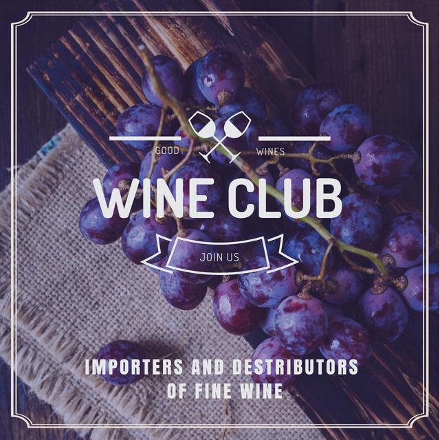 Wine club Invitation with fresh grapes Instagram Design Template