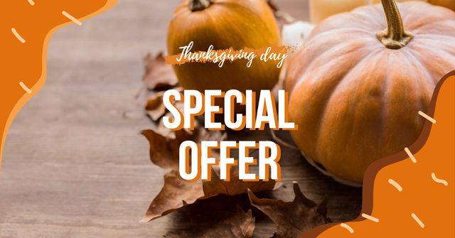 Plantilla de diseño de Thanksgiving Special Offer with Pumpkins Facebook AD