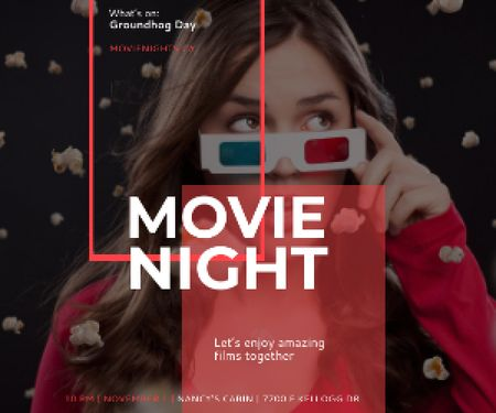 Plantilla de diseño de Movie night event poster Medium Rectangle