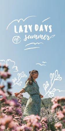 Plantilla de diseño de Summer Inspiration with Girl in Flower Field Graphic