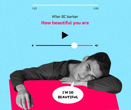 Szablon projektu Barber Promotion with Music Interface Elements Facebook