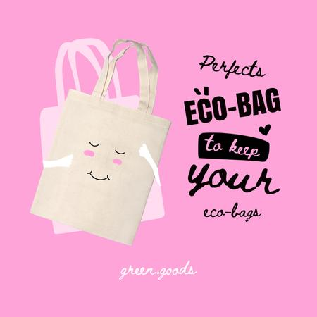 Green Goods Offer with Cute Eco Bags Instagram Design Template