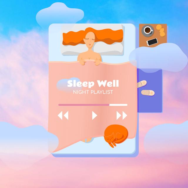 Night Playlist Ad with Sleeping Woman Illustration Instagram – шаблон для дизайну