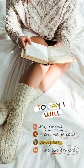 Mental Health Inspiration with Woman reading Magazine Graphic – шаблон для дизайну