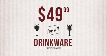 Plantilla de diseño de Drinkware Sale Glass with red wine Facebook AD