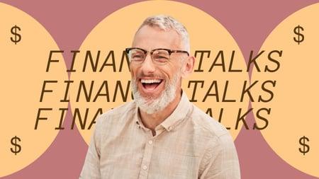 Modèle de visuel Financial Talks Podcast Announcement with Laughing Man - Youtube Thumbnail