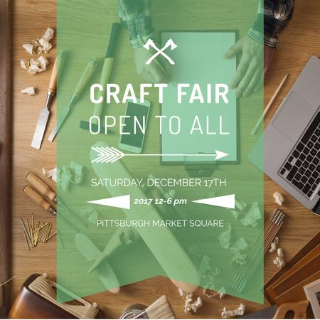 Craft Fair Announcement Wooden Toy and Tools Instagram AD Modelo de Design