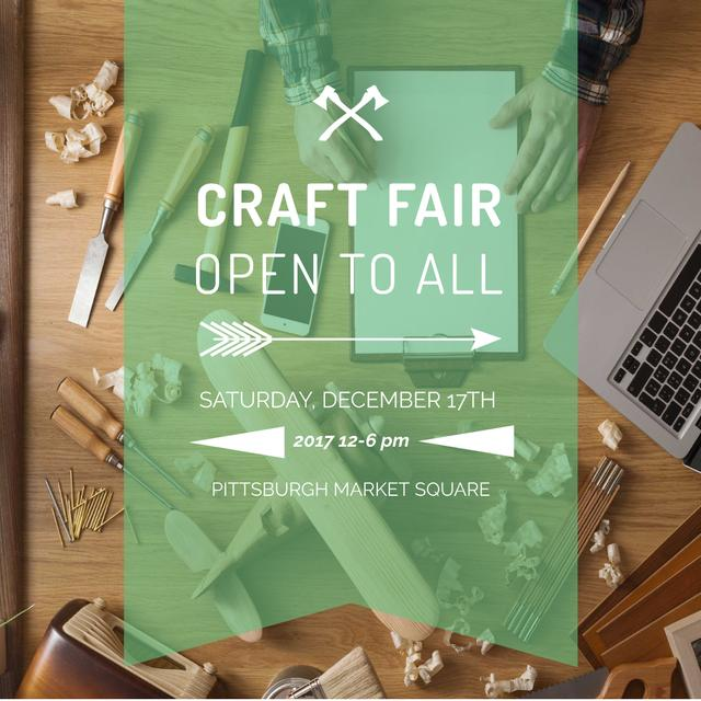 Craft Fair Announcement Wooden Toy and Tools Instagram AD Design Template