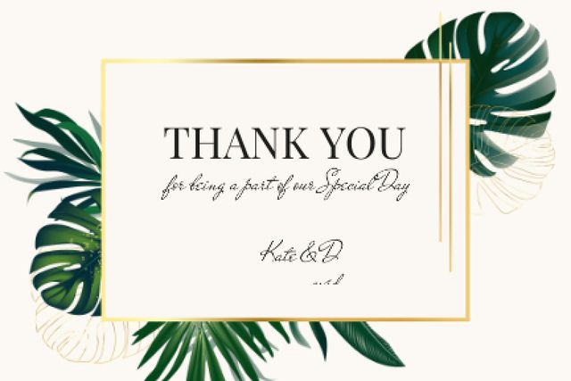 Wedding thank you card with Tropical Leaves Label Modelo de Design