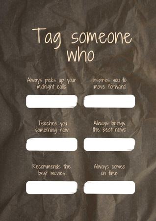 Designvorlage Form to tag someone on crumpled paper background für Poster