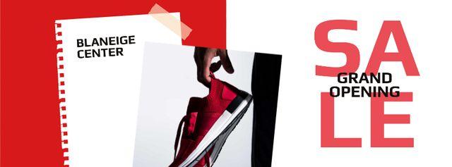 Shoes Sale Sportsman Holding Sneakers Facebook cover Modelo de Design