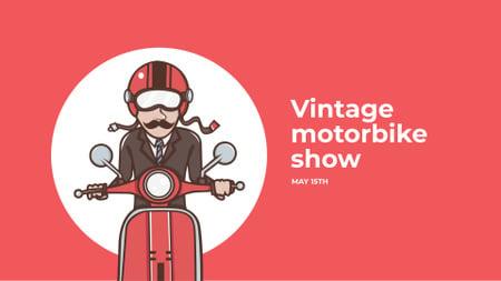 Ontwerpsjabloon van FB event cover van Vintage Scooter Show with Man on Motorbike in Red