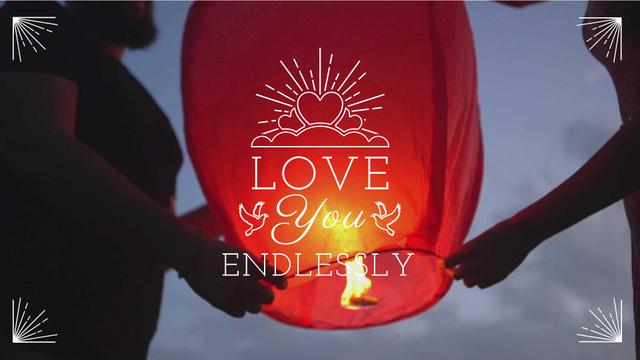 Loving Couple lighting sky Lantern Full HD video Modelo de Design