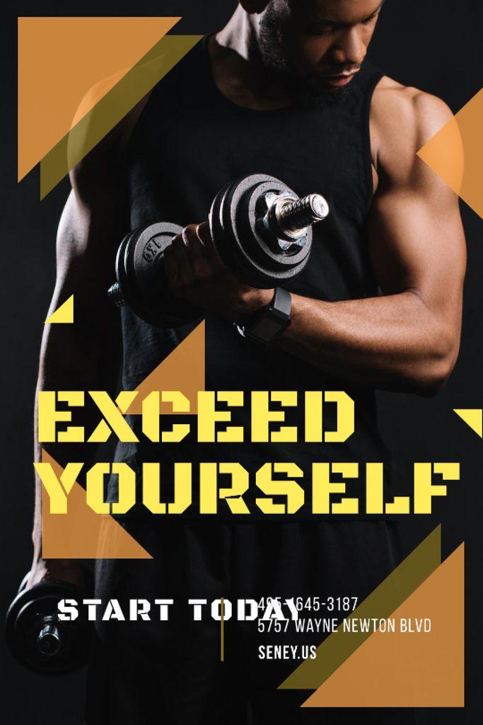 Gym Promotion Man Lifting Dumbbells — Créer un visuel